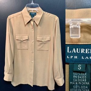 Ralf Lauren Long Sleeve Silk Blouse Shirt S